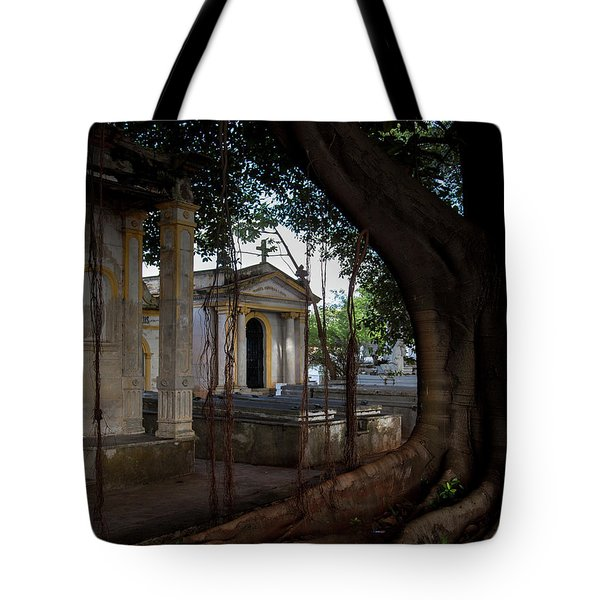 Tote Bag featuring the photograph Necropolis Cristobal Colon Havana Cuba Cemetery by Charles Harden