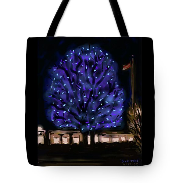 Needham's Blue Tree Tote Bag by Jean Pacheco Ravinski