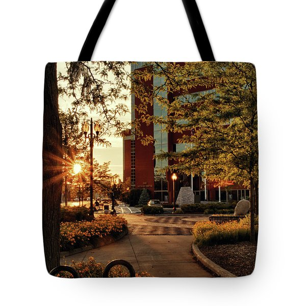 Tote Bag featuring the photograph Neenah Center Sunset by Joel Witmeyer