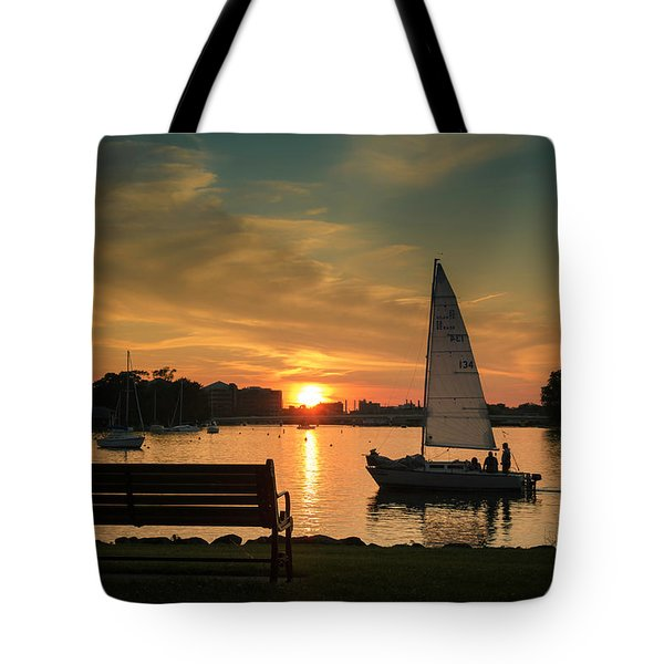 Tote Bag featuring the photograph Neenah Harbor Sunset by Joel Witmeyer