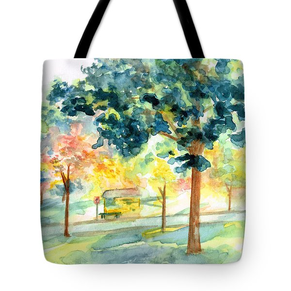 Neighborhood Bus Stop Tote Bag