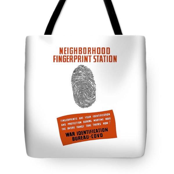 Neighborhood Fingerprint Station Tote Bag by War Is Hell Store
