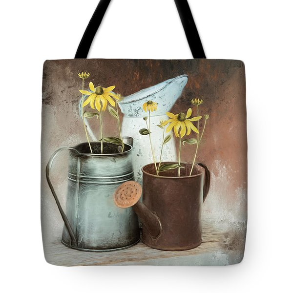 Tote Bag featuring the mixed media Neighbors by Robin-Lee Vieira