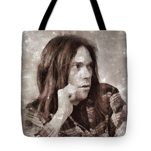 Neil Young By Mary Bassett Tote Bag
