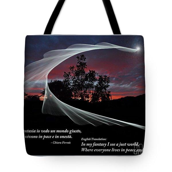 Nella Fantasia Io Vedo Un Mondo Giusto Tote Bag by Jim Fitzpatrick