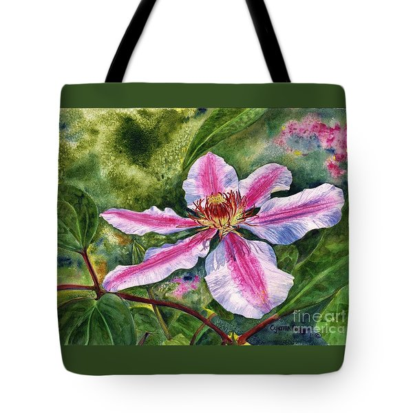 Nelly Moser Clematis Tote Bag