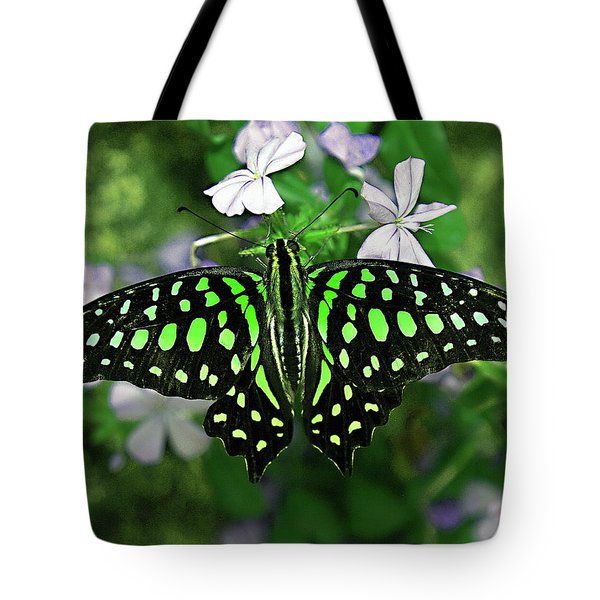Neon --- Tailed Jay Butterfly Tote Bag