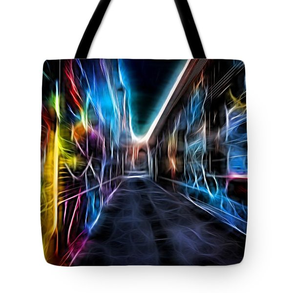 Tote Bag featuring the photograph Neon Aleey by Michaela Preston