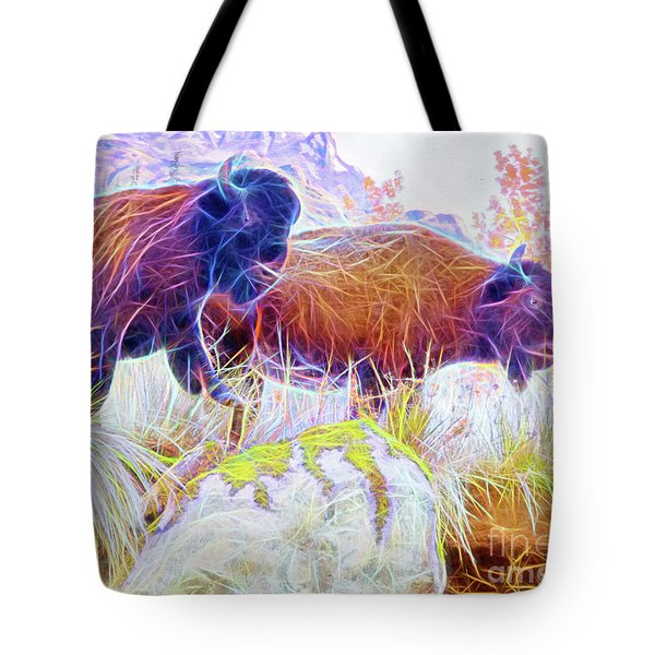 Neon Bison Pair Tote Bag