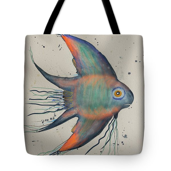 Tote Bag featuring the mixed media Neon Blue Fish by Walt Foegelle