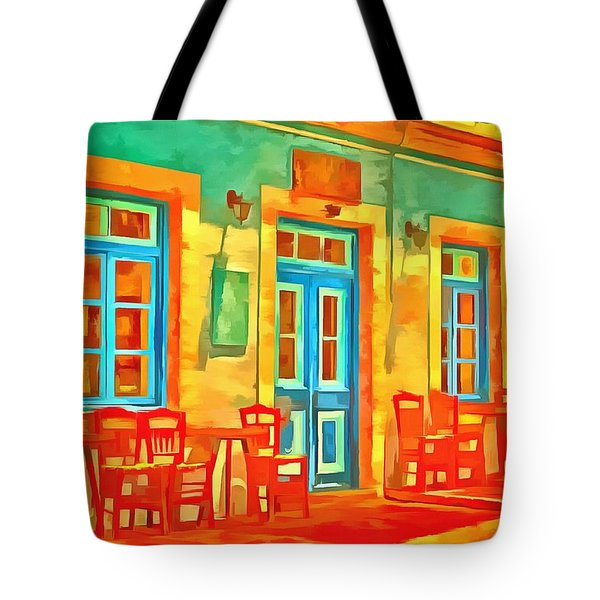 Tote Bag featuring the painting neon Cafe by Harry Warrick