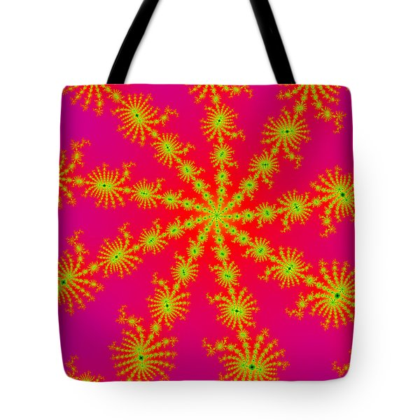 Neon Fractals Tote Bag