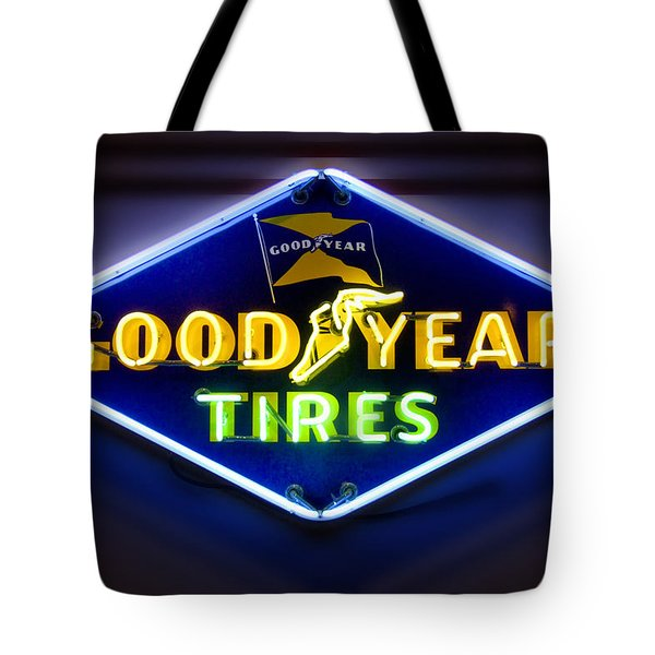 Neon Goodyear Tires Sign Tote Bag by Mike McGlothlen