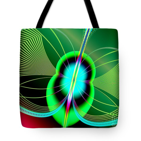 Neon Green And Blue Firefly Fractal 69  Tote Bag by Rose Santuci-Sofranko