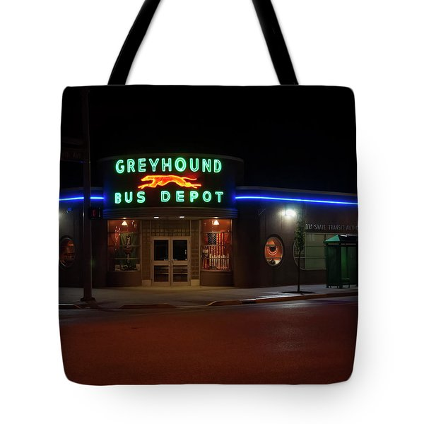 Tote Bag featuring the photograph Neon Greyhound Bus Depot Sign by Chris Flees