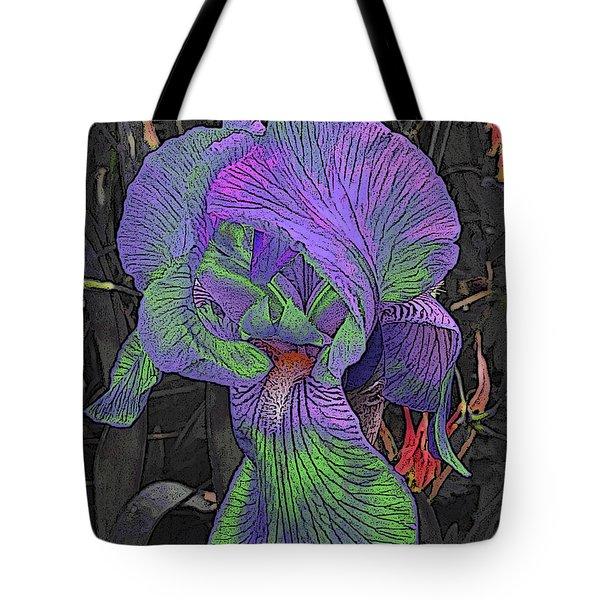 Neon Iris Dark Background Tote Bag