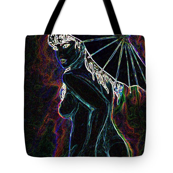 Tote Bag featuring the painting Neon Moon by Tbone Oliver