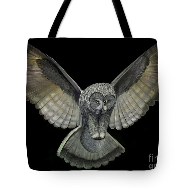 Tote Bag featuring the digital art Neon Owl by Rand Herron
