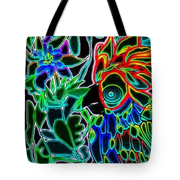Tote Bag featuring the digital art Neon Parrot by Rae Chichilnitsky