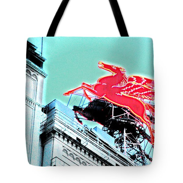 Tote Bag featuring the photograph Neon Pegasus Atop Magnolia Building In Dallas Texas by Shawn O'Brien