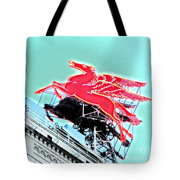 Neon Pegasus Atop Magnolia Building In Dallas Texas Tote Bag