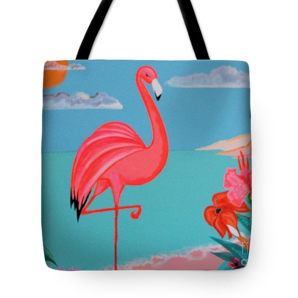 Neon Island Flamingo Tote Bag