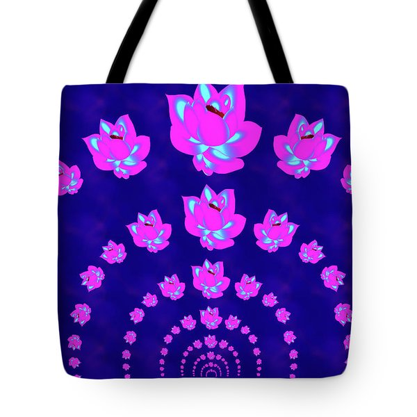 Neon Pink Lotus Arch Tote Bag by Samantha Thome