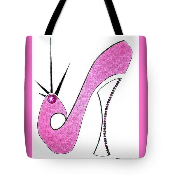 Neon Pink Stiletto Tote Bag
