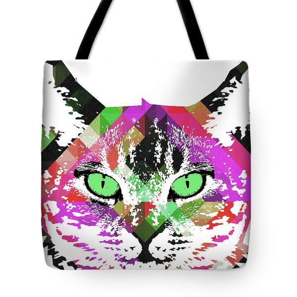 Neon Rainbow Kitty Cat Poster Print By Robert R Tote Bag