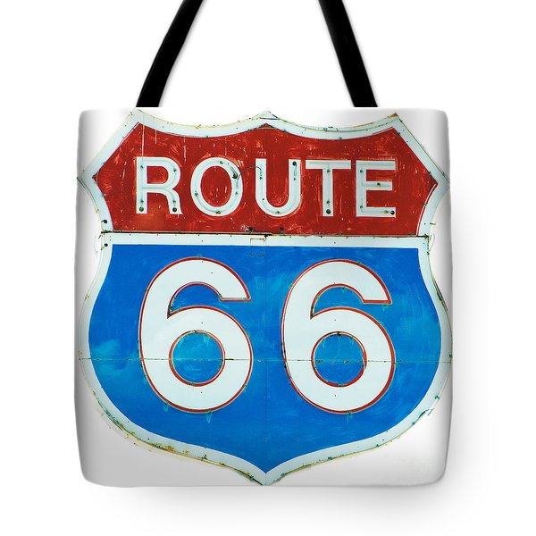 Tote Bag featuring the photograph Neon Route 66 Sign by MaryJane Armstrong