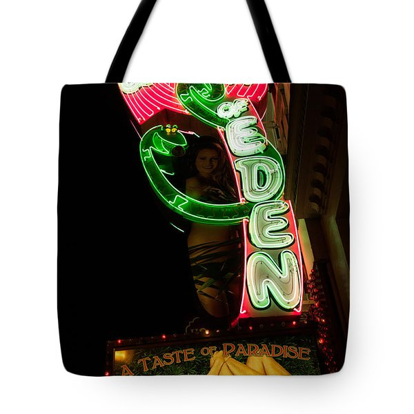 Neon Sign At Night In North Beach San Francisco 1 Tote Bag by Jason Rosette