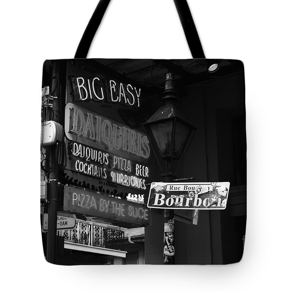Neon Sign On Bourbon Street Corner French Quarter New Orleans Black And White Tote Bag