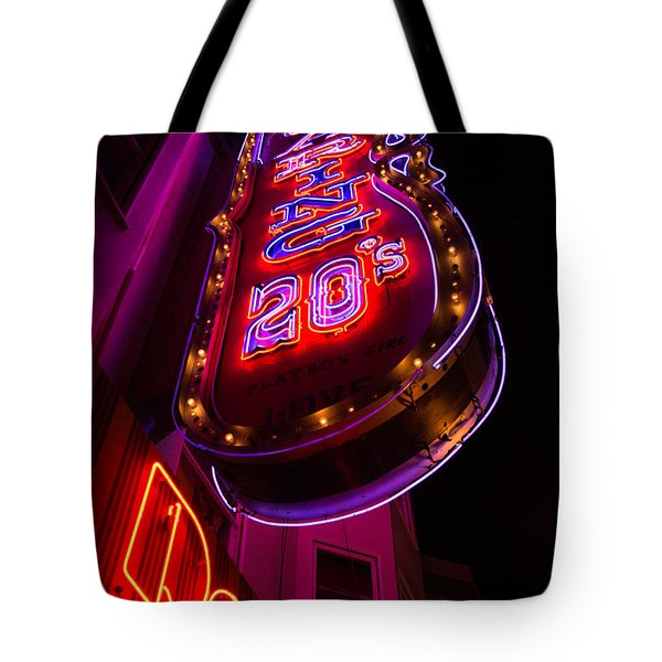 Neon Signs At Night In North Beach Low Angle Ve Tote Bag by Jason Rosette