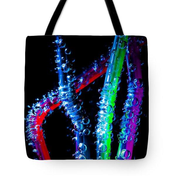 Neon Sparkling Straws Tote Bag by Marc Garrido