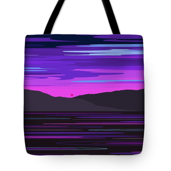 Neon Sunset Reflections Tote Bag
