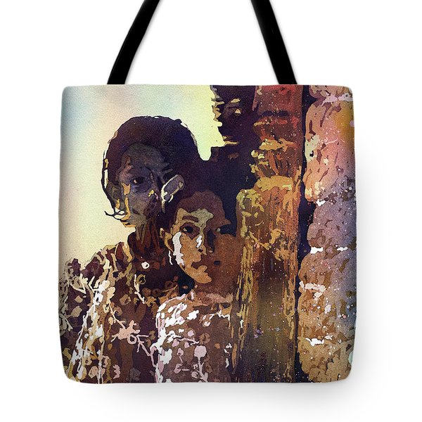 Tote Bag featuring the painting Nepalese Girls by Ryan Fox