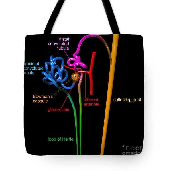 Tote Bag featuring the digital art Nephron Black With Coloured Labels by Russell Kightley