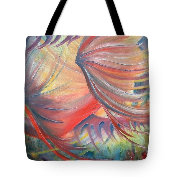 Tote Bag featuring the painting Neptune's View by Renate Nadi Wesley