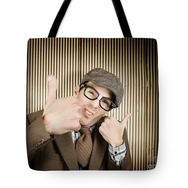Nerd With Big Thumbs Up Tote Bag
