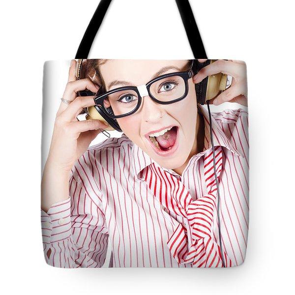 Nerdy Retro Schoolgirl Raving To Music On White Tote Bag