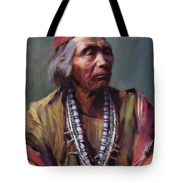 Tote Bag featuring the painting Nesjaja Hatali Medicine Man Of The Navajo People by Steve Henderson