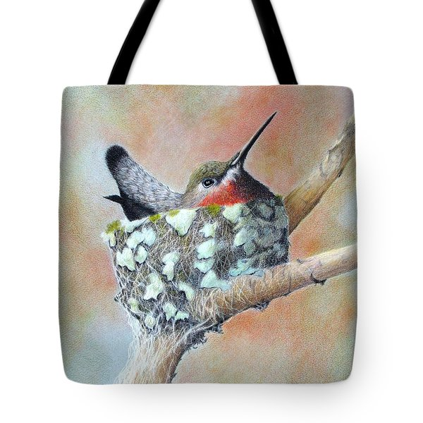 Tote Bag featuring the drawing Nesting Anna by Phyllis Howard