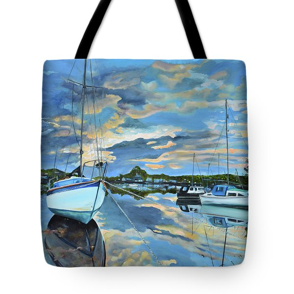 Tote Bag featuring the painting Nestled In For The Night At Mylor Bridge - Cornwall Uk - Sailboat  by Jan Dappen