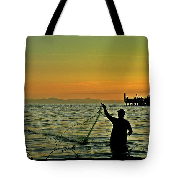 Net Fishing At Dusk Tote Bag