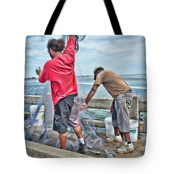 Net Fishing On Cortez Bridge  Tote Bag
