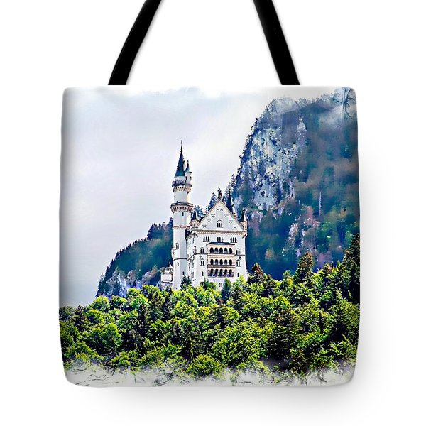 Neuschwanstein Castle With A Glider Tote Bag by Joseph Hendrix
