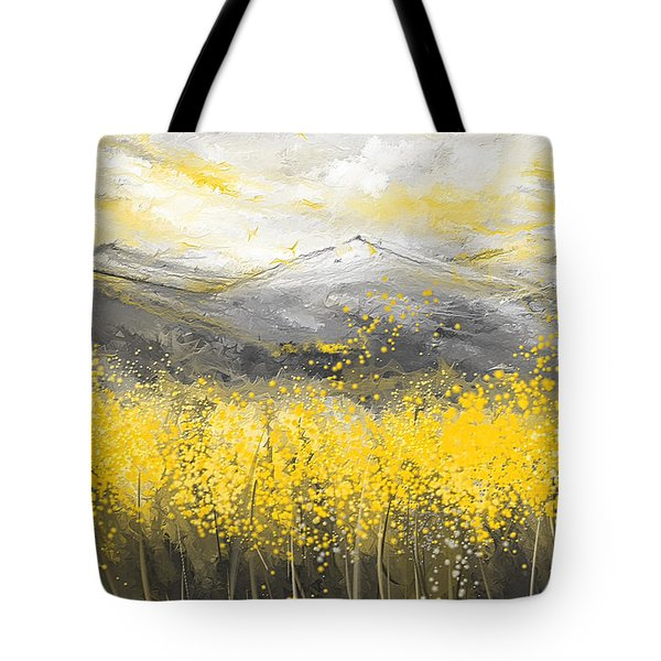 Neutral Sun - Yellow And Gray Art Tote Bag