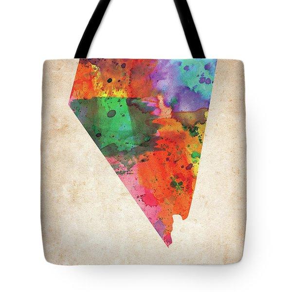 Nevada Colorful Watercolor Map Tote Bag