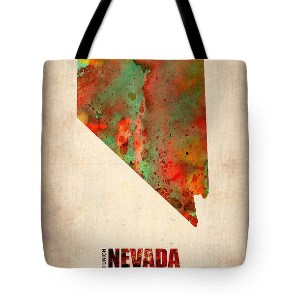 Nevada Watercolor Map Tote Bag by Naxart Studio