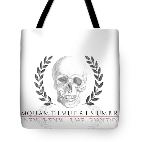 Never Fear The Shadows Stoic Skull With Laurels Tote Bag